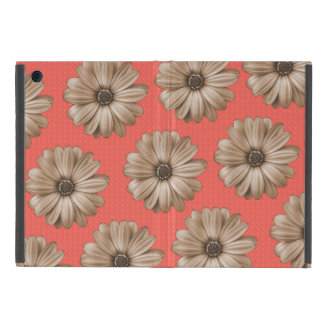 Tan and Coral Tropical Floral Print Case For iPad Mini
