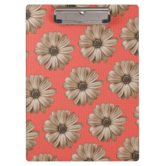 Tan and Coral Tropical Floral Print Clipboard