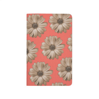 Tan and Coral Tropical Floral Print Journal