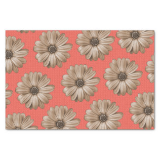 Tan and Coral Tropical Floral Print Tissue Paper