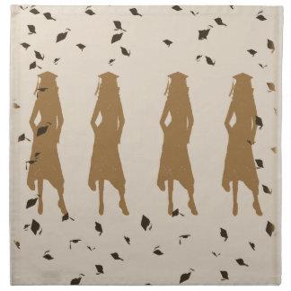 Tan and Gold Grad Girl Silhouettes Cloth Napkin