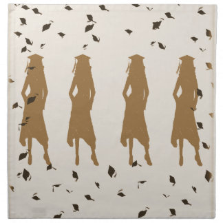 Tan and Gold Grad Girl Silhouettes Cloth Napkins