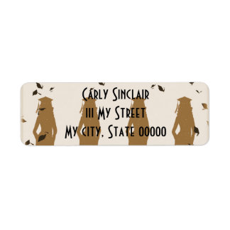 Tan and Gold Grad Girl Silhouettes Return Address Label