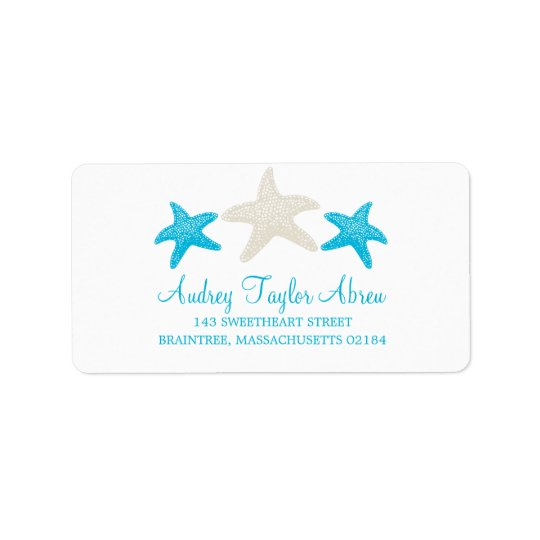 Tan and Teal Starfish   Return Address Label