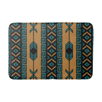 Tan And Turquoise Southwest Aztec Pattern Bath Mat