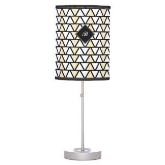 Tan and White Aztec pattern Table Lamp