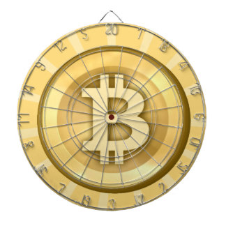 Tan and white bitcoin logo on dartboard