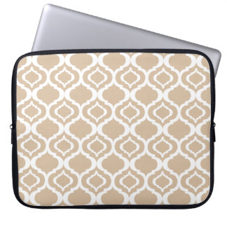 Tan and White Geometric Moroccan Lattice Pattern Laptop Sleeve