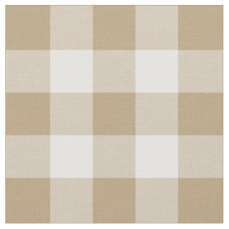 Tan and White Gingham Pattern Fabric