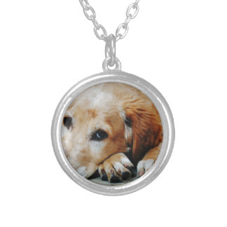 Tan and White Short Coat Dog Silver Plated Necklace