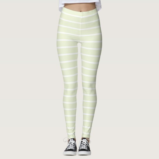 Tan and white stripe pattern leggings