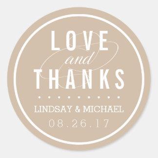 Tan and White Wedding Favor Thank You Round Sticker