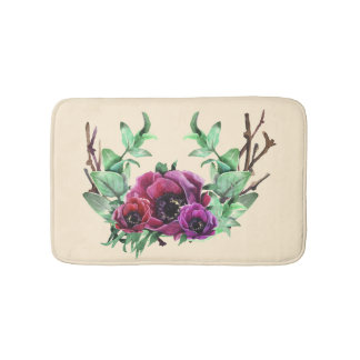 Tan Bath Mat with Wreath of Pink Flowers
