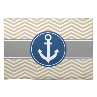 Tan Beige Nautical Anchor Chevron Placemat