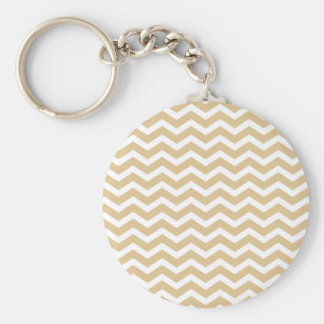 Tan Beige White Chevron Pattern Basic Round Button Keychain