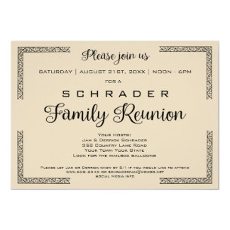 Tan Biege or Any Color Family Reunion Invitation