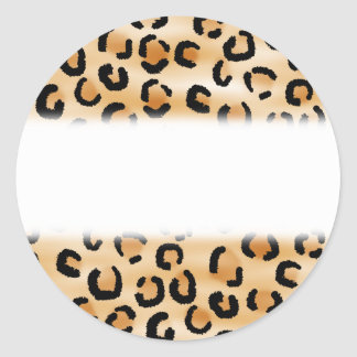 Tan, Black and Brown Leopard Print Pattern. Round Sticker