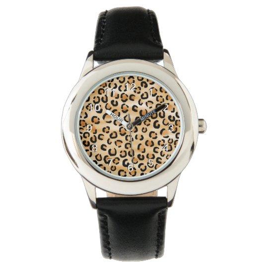 Tan, Black and Brown Leopard Print Pattern. Wristwatch