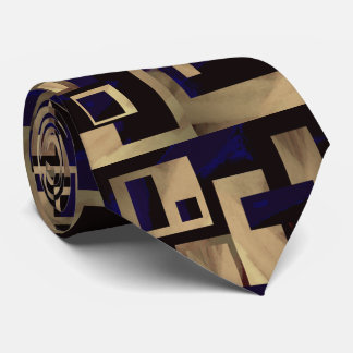 Tan Black Blocks Abstract Man's Tie