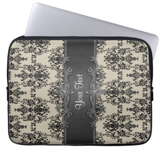 Tan Black Damask Personalized Laptop Sleeve