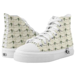 TAn Black Heart Cross High Top Shoes
