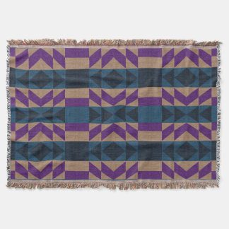 Tan, Blue, and Violet Purple Aztec Throw Blanket