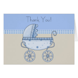 Tan Blue Carriage Baby Boy Thank You Cards