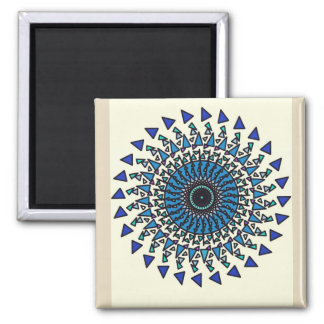 Tan Blue Geometric Star Spiral Design Magnet