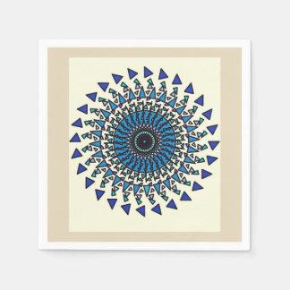 Tan Blue Geometric Star Spiral Design Napkin