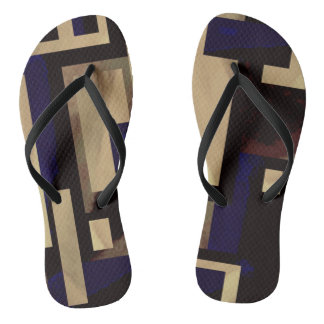 Tan Blue Square Abstract Blocks Flip Flops