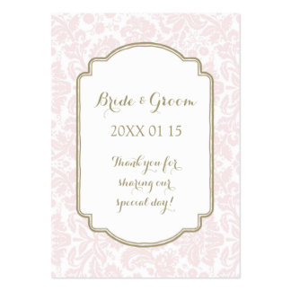 Tan Blush Pink Damask Wedding Favor Tags Pack Of Chubby Business Cards