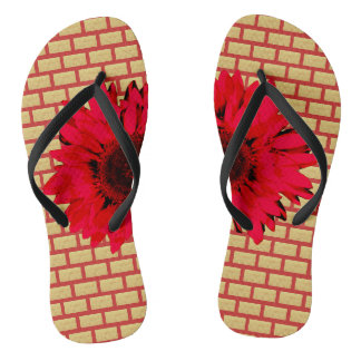 Tan Brick Red Sunflower Flip Flops