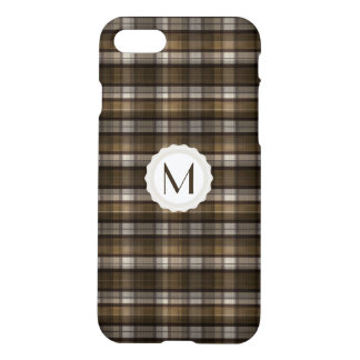 Tan/Brown/Beige Plaid Personalized Monogram iPhone 7 Case