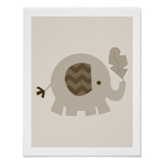 Tan Brown Elephant Neutral Farmhouse Nursery Art Poster