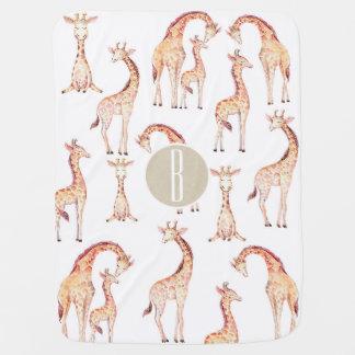 Tan Brown Giraffes Whimsical Rustic Kraft Monogram Baby Blanket