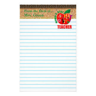 Tan Brown Lined Paper World's Best Teacher Customized Stationery