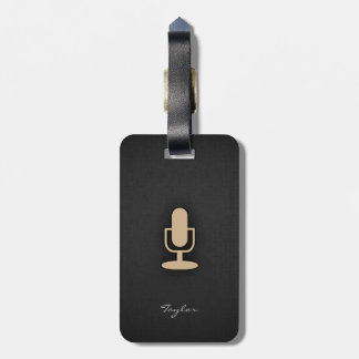 Tan Brown Microphone Luggage Tag