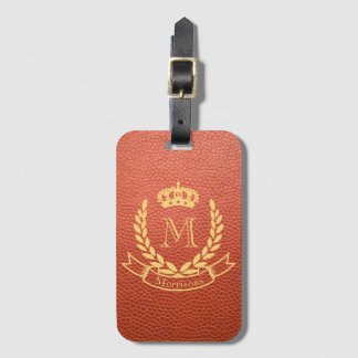 Tan Brown Mock Leather with Monogram Crest Bag Tag