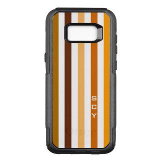 Tan Brown Orange Vertical Stripes Monogram OtterBox Commuter Samsung Galaxy S8+ Case