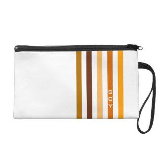 Tan Brown Orange Vertical Stripes Monogram Wristlet