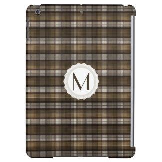 Tan & Brown Plaid Personalized Monogram iPad Air Covers