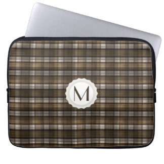 Tan & Brown Plaid Personalized Monogram Laptop Sleeve