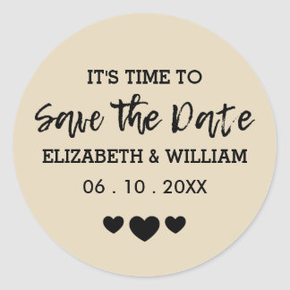 Tan Brown Save the Date Shabby Chic Heart Wedding Classic Round Sticker