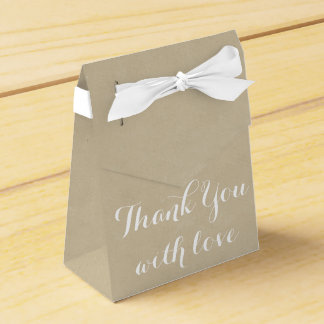 Tan Brown Thank You Love Wedding Party Cardboard Wedding Favor Boxes