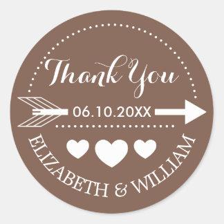 Tan Brown Thank You Wedding Stickers Arrow Heart