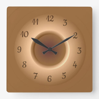 Tan Brown with a Gold Circle Ring Minimalist Clock