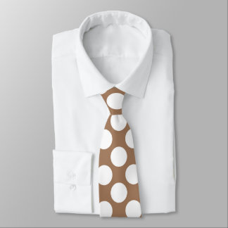 Tan Brown with White Polka Dots Retro Tie