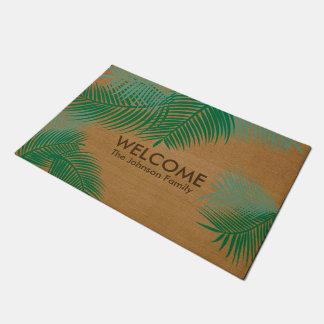Tan Burlap with Green Plam Leaves Doormat