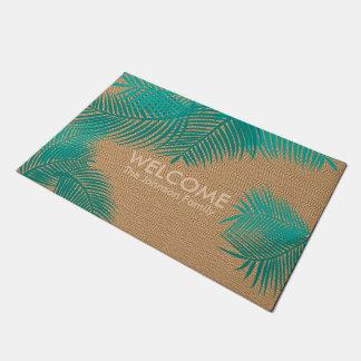 Tan Burlap with Teal Plam Leaves Doormat
