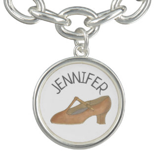 Tan Character Shoe Dance Teacher Choreographer Charm Bracelet
